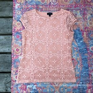The Limited peach lace short sleeve top